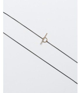 thin silver chain with 18ct gold